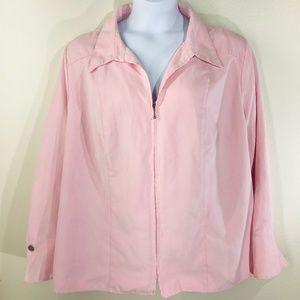 Cato Women's Pink Faux Suede Zip Jacket Size 26/28